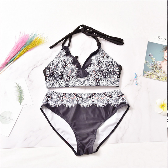L-5XL Plus Size Swimwear Large Size Women 2019 Push up Bikini Set High waisted Swimsuits Women bathing Suit Halter Swim Wear 3