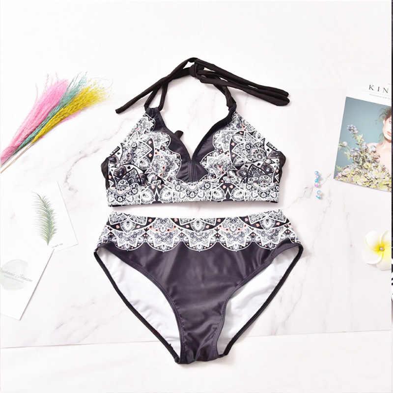 L-3XL плюс Размеры бикини Купальники Для женщин 2019 пуш-ап купальники Victoria's Secret купальные костюмы с высокой талией купальный костюм бикини с юбкой