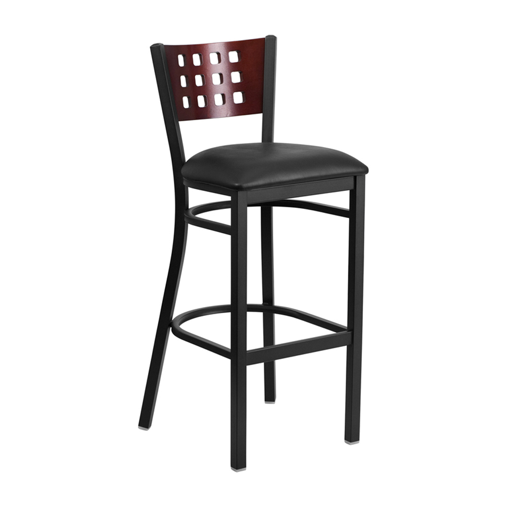 Flash Furniture HERCULES Series Black Decorative Cutout Back Metal Restaurant Barstool - Mahogany Wood Back and Black Vinyl Seat light blue cutout back