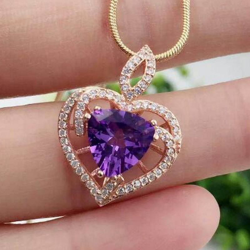 Natural Amethyst Pendants 925 Sterling Silver Natural