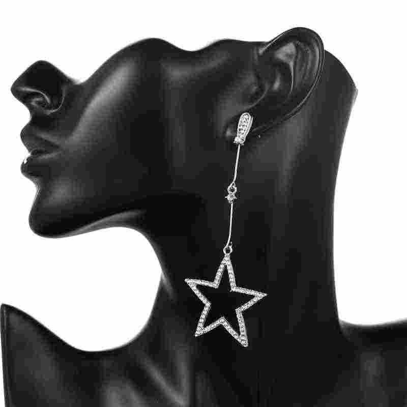 2019 Elegant ยาวต่างหูคริสตัล Rhinestone Hollow เงินดาวดาวแขวนต่างหูผู้หญิงใหม่แฟชั่น Oorbellen Bjoux เครื่องประดับ