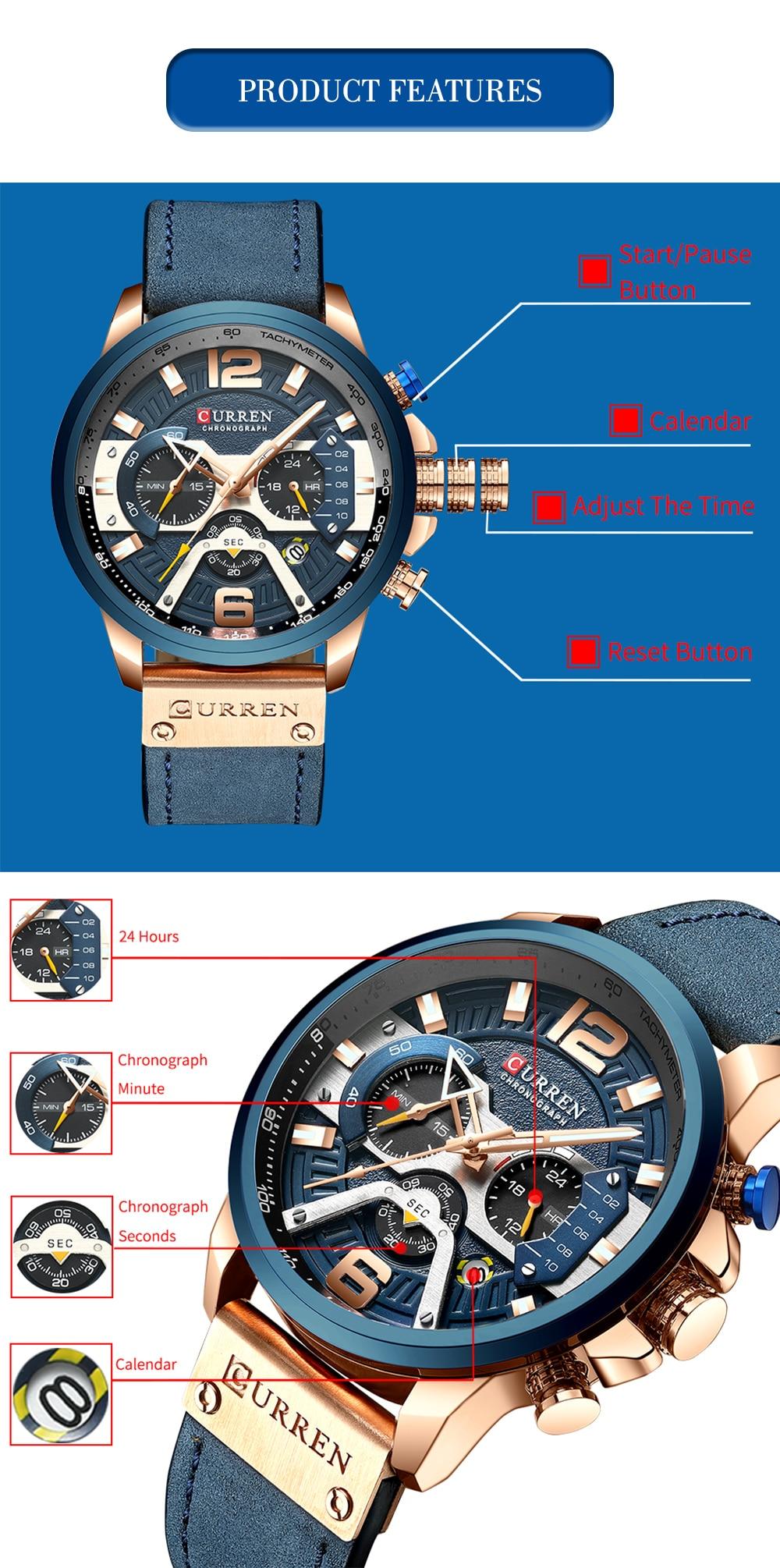 HTB131f7LFzqK1RjSZFvq6AB7VXaw CURREN Relogio Masculino Sport Watch Men Top Brand Luxury Quartz Men's Chronograph Date Military Wrist Watches Waterproof 8329