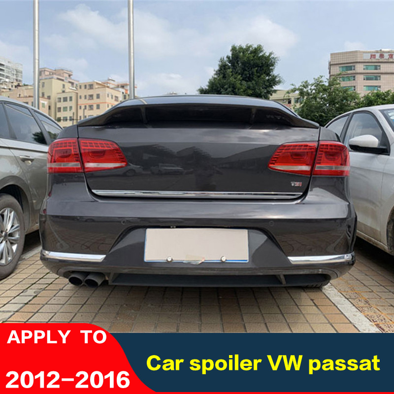 Carbon Fiber Rear Wing Of Car Spoiler For VW Passat B7 Spoiler 2012-2016 High Quality Color Tail Fin Glue To Install Auto Parts