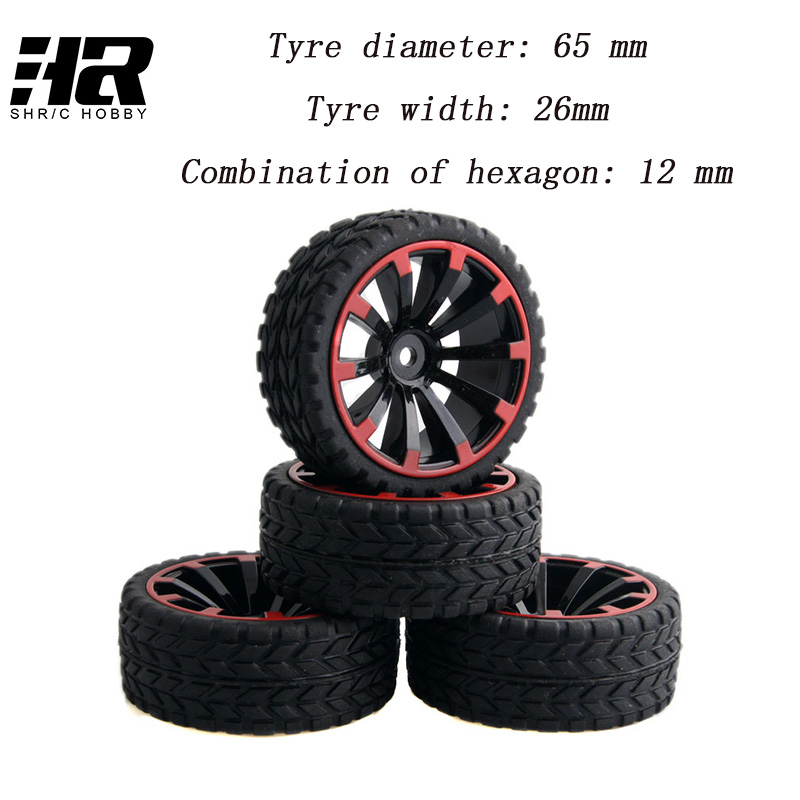 4pcs RC 1/10 Buggy Wheels & Tires 12mm Hex wear-resisting of a sponge on the road of the road race Desert road snow tires wheel 4pcs 1 9 rubber tires