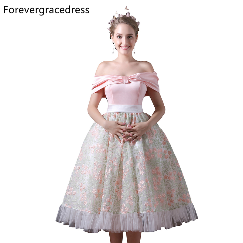Forevergracedress Real Photos Lace   Cocktail     Dress   Sexy Off The Shoulder Tea Length Short Homecoming Party Gown Plus Size