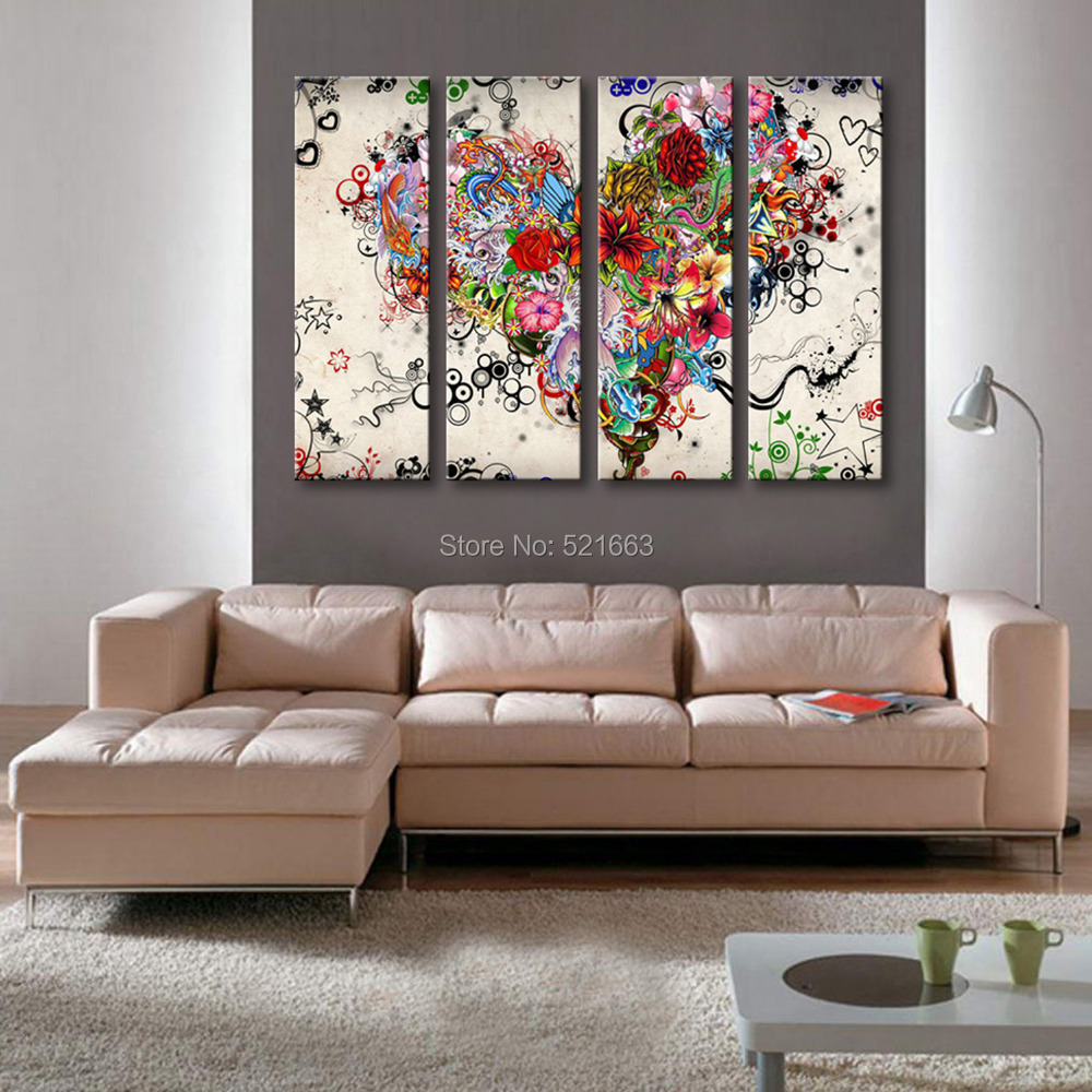 Hd Oil Painting Flower Heart Decoration Painting Home Decor On Canvas Modern Wall Art Canvas Prints