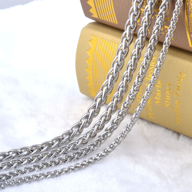 Free Shipping Stainless Steel Men Necklace Chain 3 4 5 6 7 8MM Link Chain Men Necklaces High Quality Never Fade