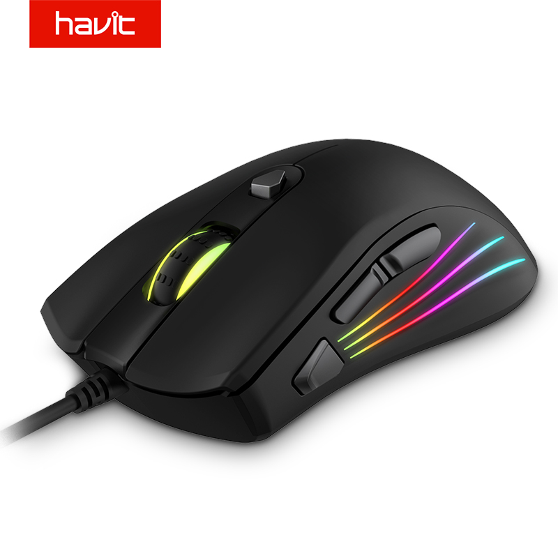 HAVIT Gaming Mouse 7200DPI Programmable 7 Buttons RGB Backlit USB Wired Optical Mouse Gamer for PC Computer Laptop HV MS762-in Mice from Computer & Office