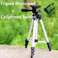 Flexible 4 Sections 105cm Camera Tripod Monopod + Mobile Phone Holder Tripod Mount Holder with Bag for Camera DV Video Recorders