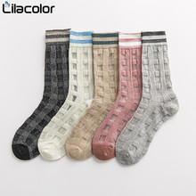 Cotton Plaid Women Short Socks Spring Summer Lady Girls Thin 1 Pair