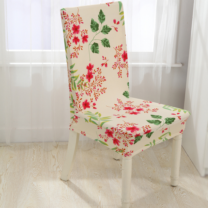 Floral Print Chair Cover Home Dining Elastic Chair Covers