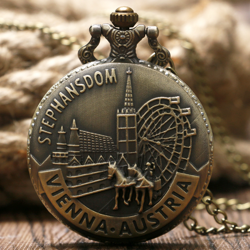 Stephansdom Carving Pocket Watch Austria Vienna Landmark Slim Necklace Souvenir Bronze Clock Best Gifts For Men Women Friends