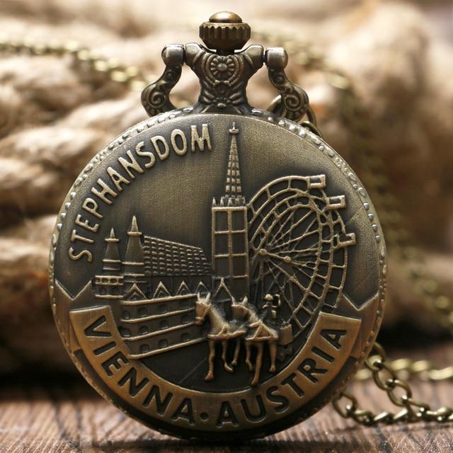 Stephansdom Carving Pocket Watch Austria Vienna Landmark Slim Necklace Souvenir
