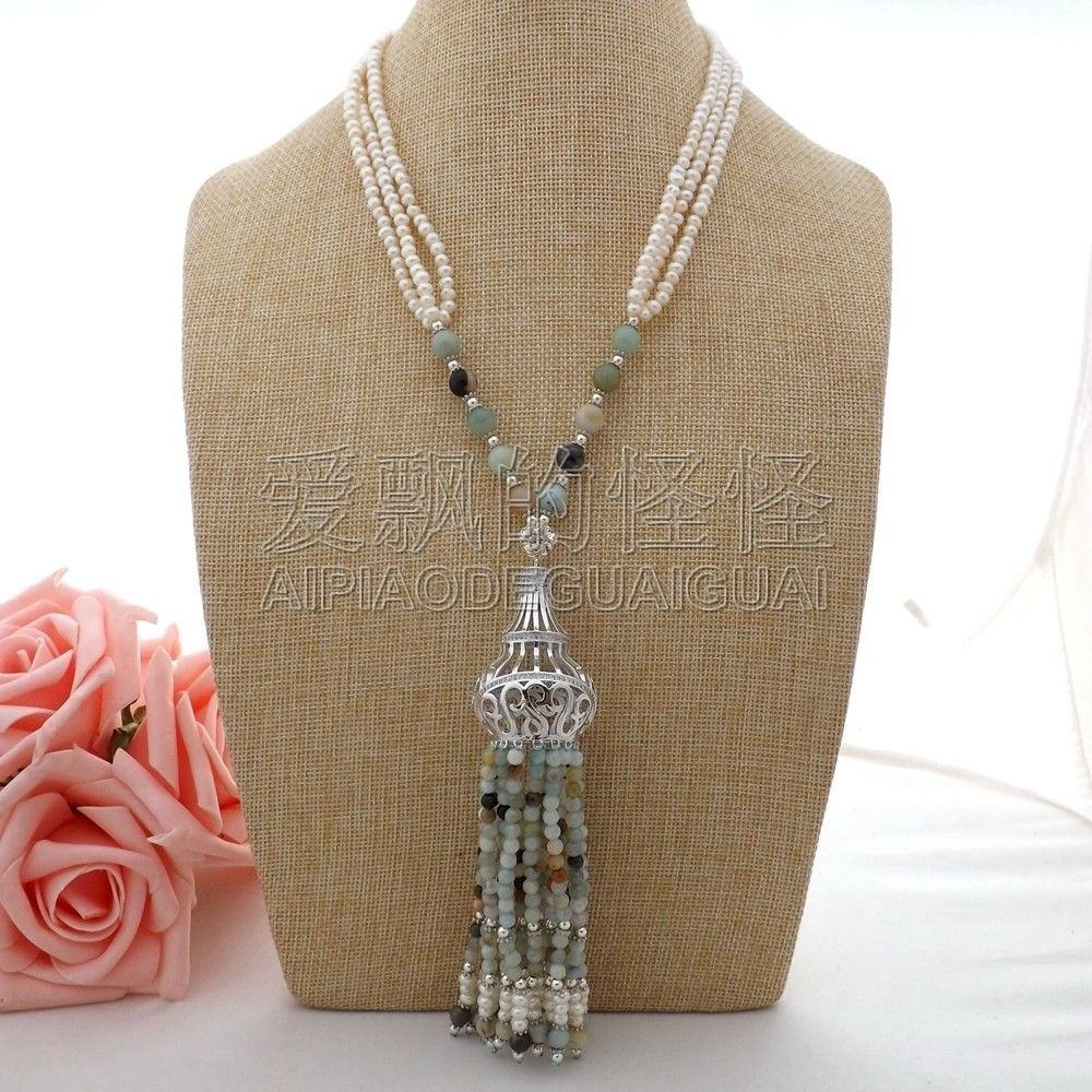 N062902 20 3Strands White Pearl Amazonite Necklace CZ Tassel PendantN062902 20 3Strands White Pearl Amazonite Necklace CZ Tassel Pendant