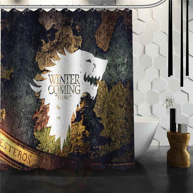 Custom The Game Of Thrones Printed Bathroom Waterproof Polyester Fabric Shower Curtain