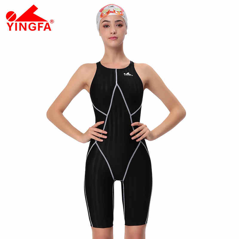 Yingfa FINA approved one piece competition knee length waterproof chlorine resistant women s swimwear sharkskin swimsuit