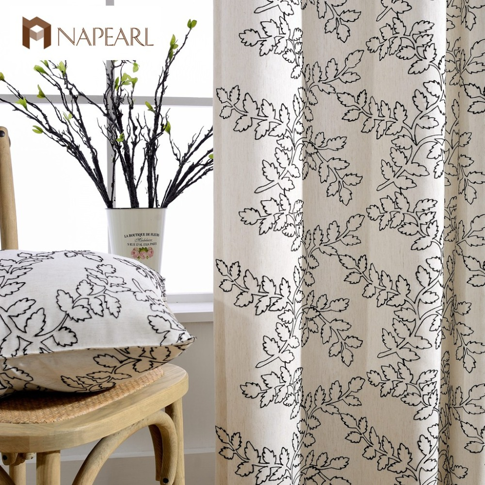 Linen curtains modern embroidered bedroom luxury curtains for Balcony curtains