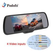 "Podofo 8"" Split Screen Car Rearview Mirror Monitor 4 Channels DC 12V for Reversing Camera System Car Parking Rearview Monitor"
