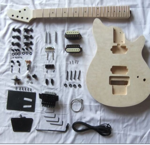 MM1-F 2 Dual-coil Pickups Unfinished DIY Electric Guitar 22 Frets #13
