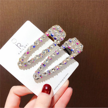 Wedding Party Hair Accessories Colorful AB Crystal Rhinestone Hollow Water Drop Hairpins For Women Luxury Clips Girls Gifts