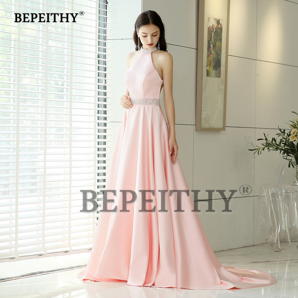 BEPEITHY Halter Long Evening Dresses With Crystal Belt Vestido De Festa Backless Court Train Pink Prom Dress Party Gowns 2019