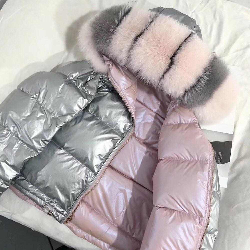 Femmes Veste D'hiver Vers Le Bas Manteau Réel Fox Col De Fourrure Vers Le Bas Parka Survêtement Chaud Épais Vêtements D'hiver 2018 Mode Duvet de Canard veste