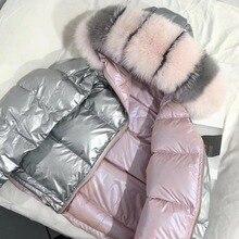 Женская зимняя куртка пуховое пальто с натуральным лисьим меховым воротником пуховая парка верхняя одежда толстая теплая зимняя одежда 2018 модная куртка на утином пуху