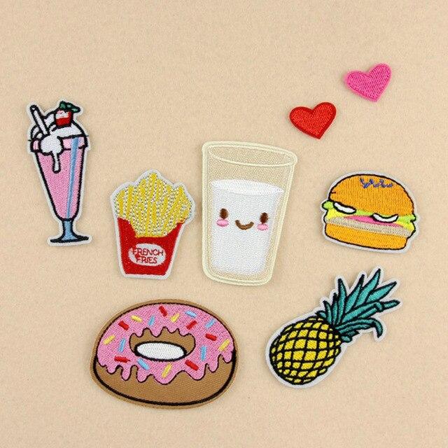 8 pcs set bordir patch hamburger kentang goreng doughnut susu jantung diy sticker untuk tas
