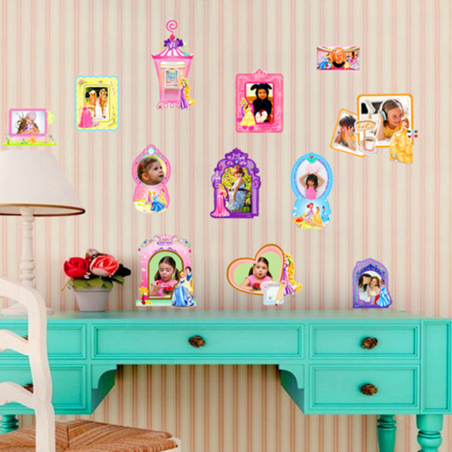 Most Beautiful Photo Frame Cute Girls Bedroom Wall Decor Cartoon Princess  Sticker DIY SGS Removable QT9086