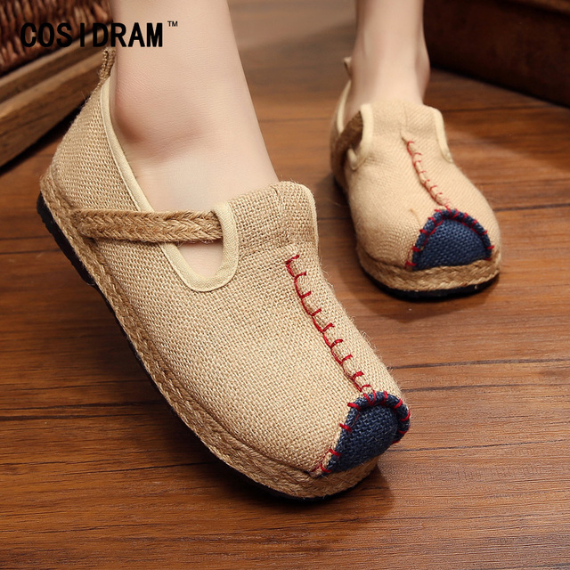 Big Size Spring Hemp Women Flats Slip On Brand Designer Women Shoes Casual Students Girl Sweet Footwear Chinese Style SNE-193