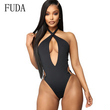 FUDA New Fashion Women Sexy Cross Halter Hollow Out Swimsuits Casual Summer Swimwear Triangle Bodysuits Black Playsuits