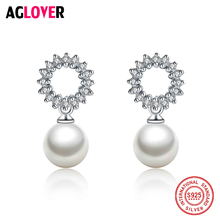AGLOVER Fashion Wedding Pearl Jewelry Accessories 925 Sterling Silver Pearl Earrings Elegant Crystals Stud Earrings For Women tytw 925 silver loved earrings crystals from austrian pearl women korea fashion brand bird green long stud pairs of earrings