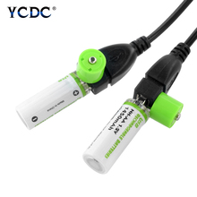 2Pcs AA Battery Nimh 1.2V 1450MAH Rechargeable NI-MH USB for Remote control, razor, radio use +Cable