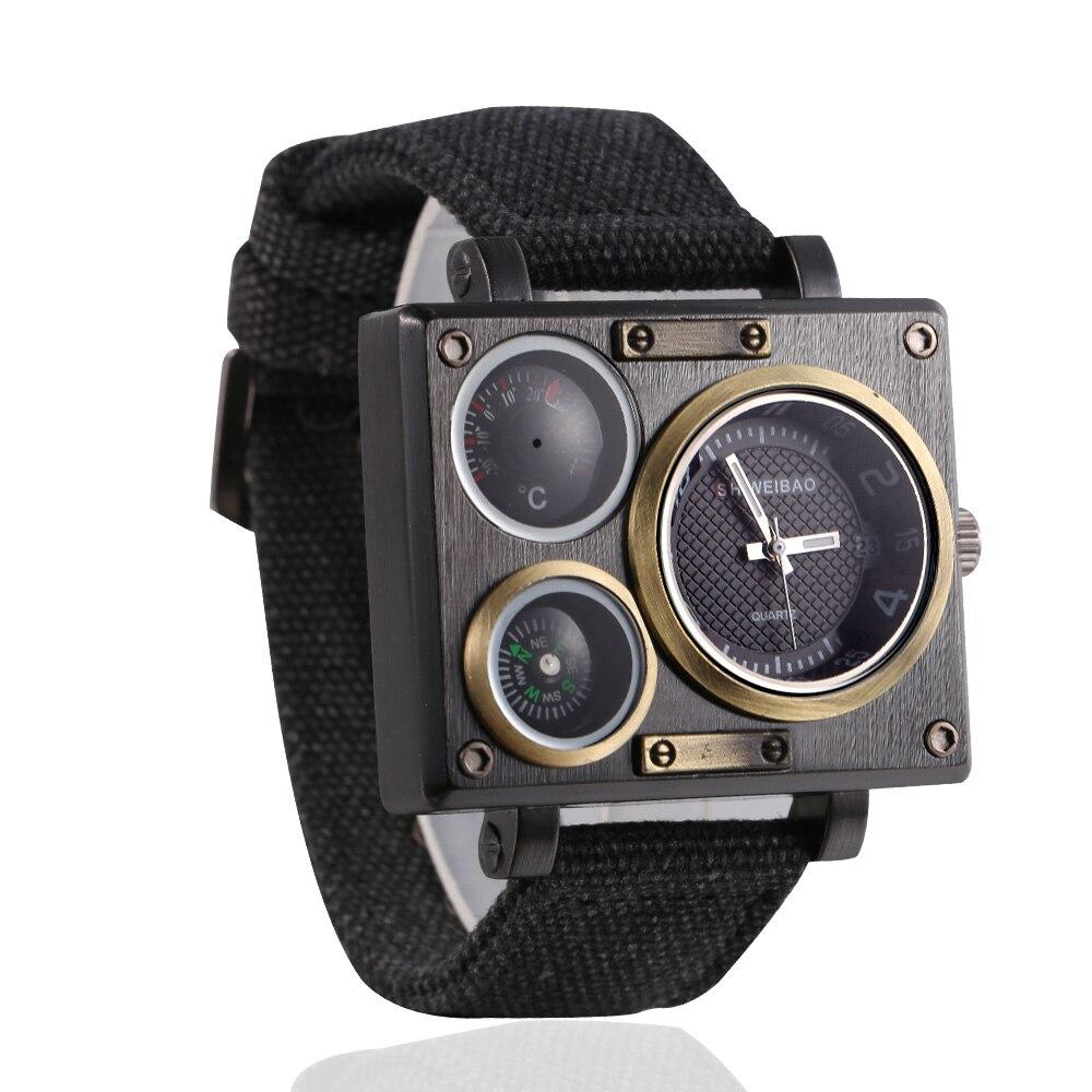 Sports Wrist Watch Man Quartz Mens Watches Cool Big Case Military Style Analog Wristwatches Retro Relogio Masculino Clock Male