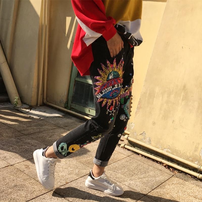 Harem 26 Filles Taille Femmes Motif Jean Pantalon Perles Denim De Pour Black Ample Grande Jeans 32 Paillettes Décontracté a5wqnSR1