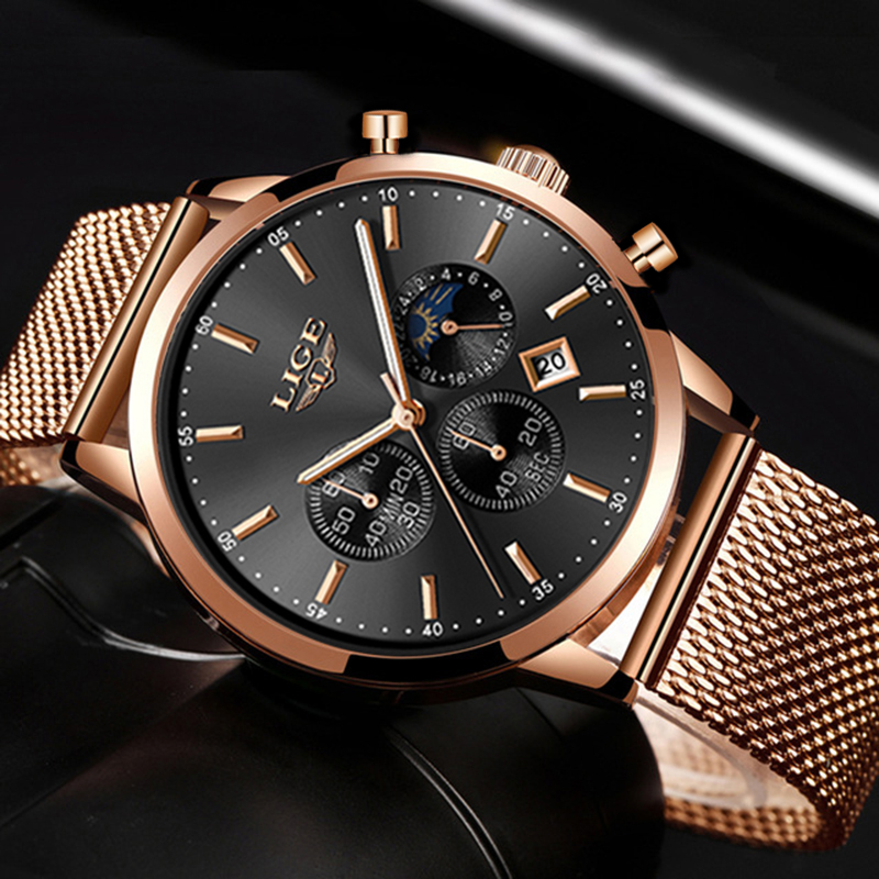 Relogio LIGE New Top Brand Fashion Luxury Gold Mesh Band Creative WristWatch Casual Women Watch Quartz Clock Gift Gold Watch Men luxury men quartz watch fashion tungsten band watch 50 meter waterproof gift casual clock male wristwatch clock relogio with box