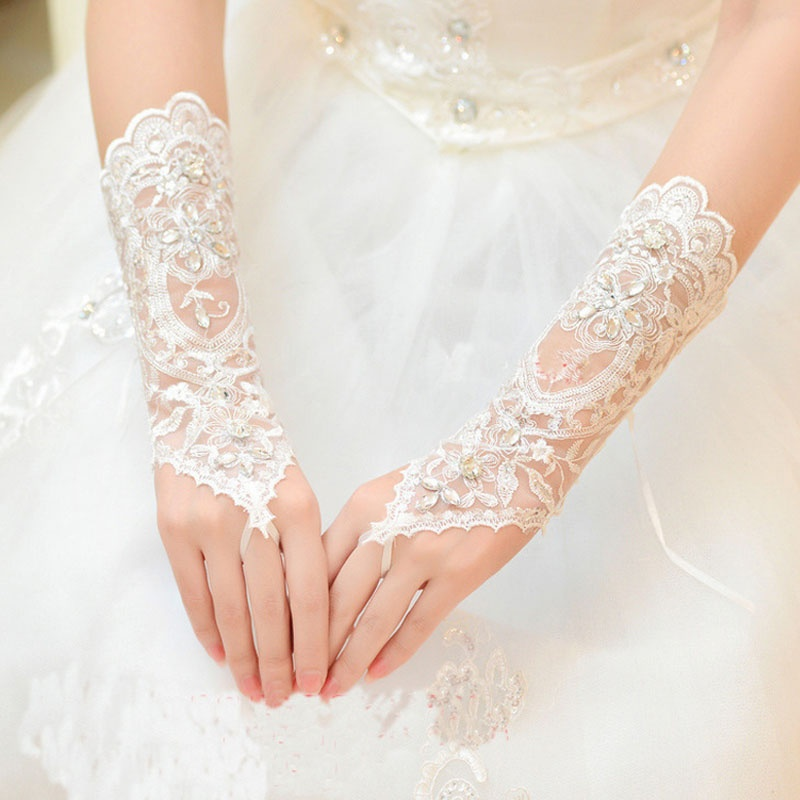 Female Bride Short Gloves Beads Rhinestone Lace Fingerless Weddings Gloves