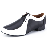 Men's Latin Ballroom Dance Shoes Professional Black Leather Latin Salsa Shoes Plus Size Low Heel Tango Ballroom Dance Shoes