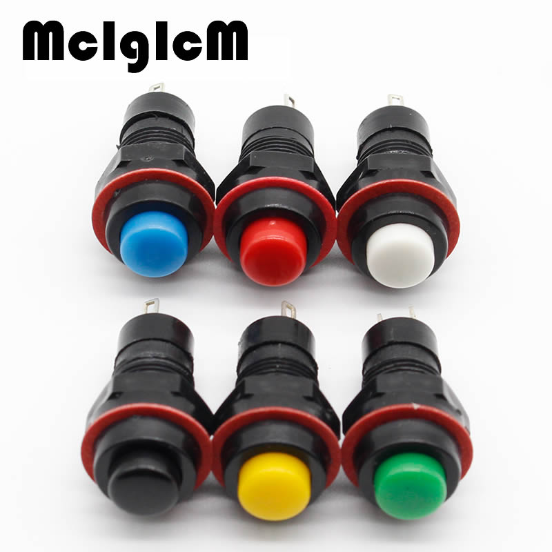 цена на 6pcs Push Button Switch 10mm Momentary / Self Locking Round Button Switch
