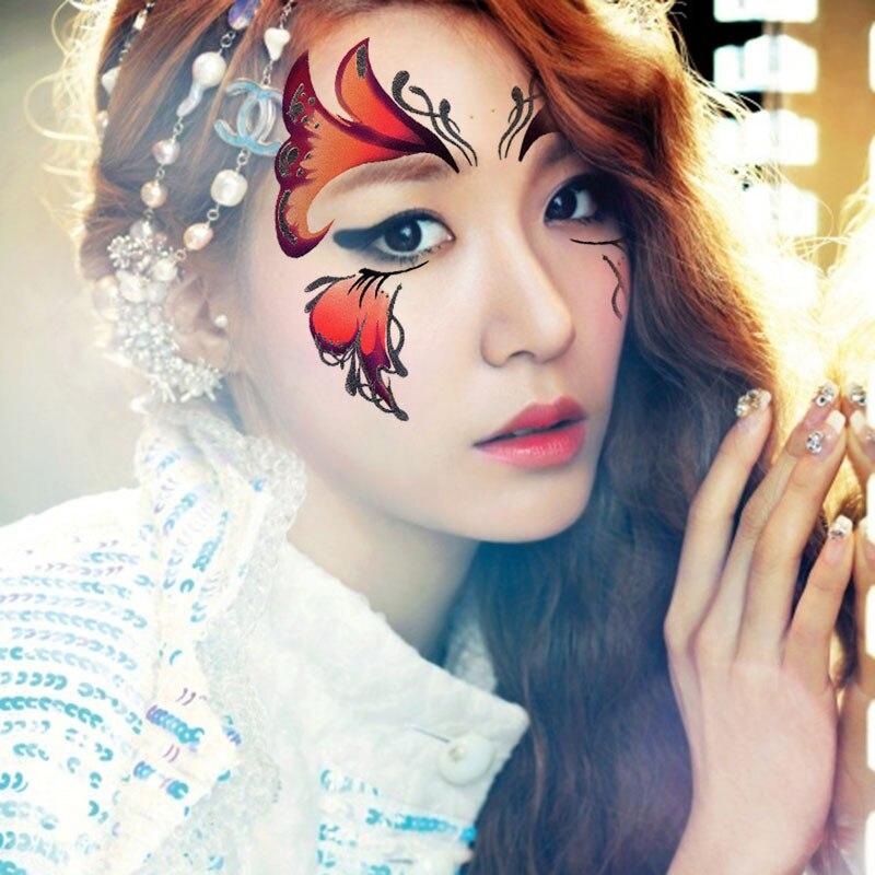 2pcs/lot Halloween Henna eye sticker Red Face Sticker Butterfly ...