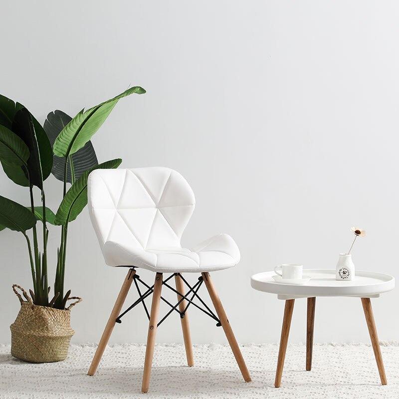 Современный минималистичный стол компьютерный стул домашний Ресторан обеденный стул из твердой древесины скандинавский диван спинка макияж пляж - Цвет: A