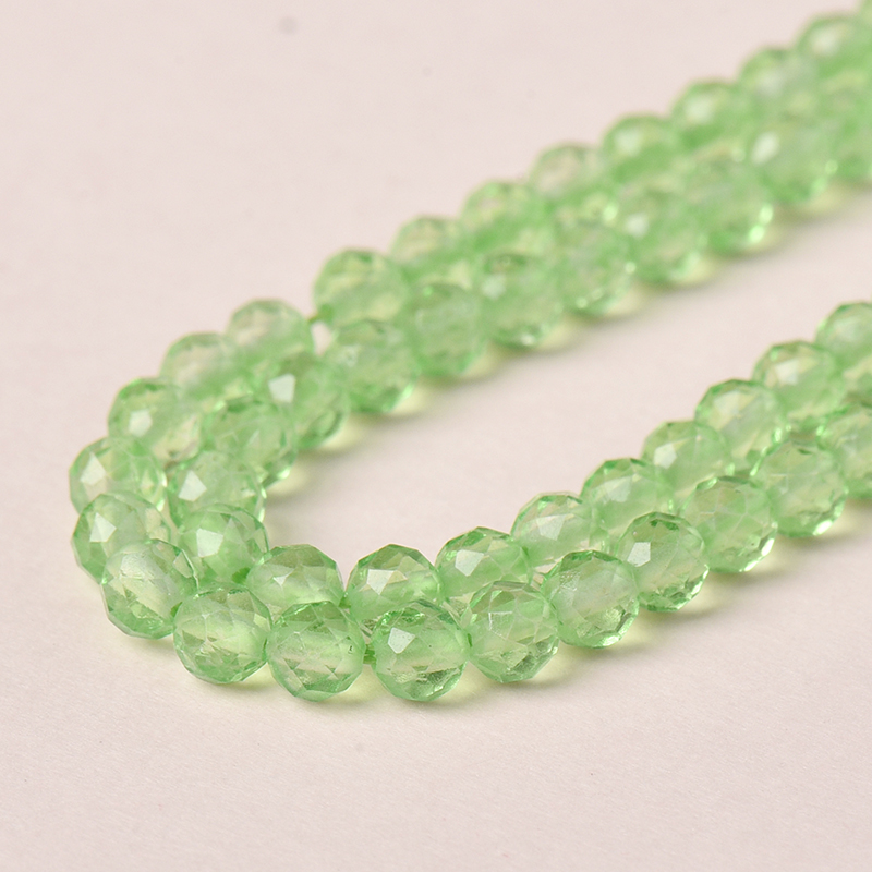 Light Translucent green cut beads of the same size and shape Add Full style 3mm-2mm Green Crystal Loose Beads