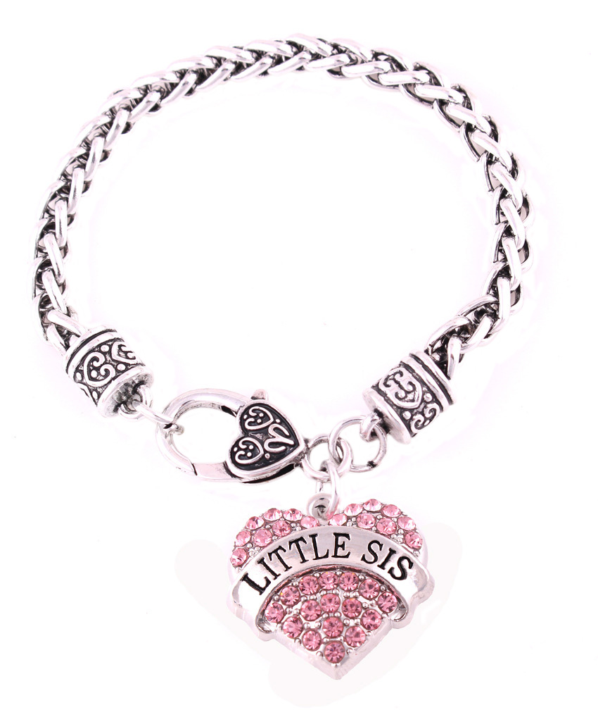 New Austrian Crystal And Rhinestone Words Bracelet Little Sister Letters Heart Charm Bracelets For Friends Gift In Chain Link From
