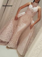 Muslim Evening Dresses Mermaid High Neck Detachable Skirt Lace Islamic Dubai Kaftan Saudi Arabic Long Evening Prom Gown