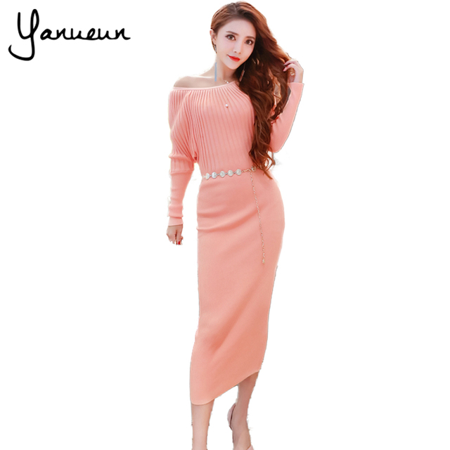 9533566f7a5 Yanueun Korean Fashion Women Sweater Dress Slim Batwing Bodycon Dresses  Elastic Dress Striped Black Knitted Patchwork Midi Dress
