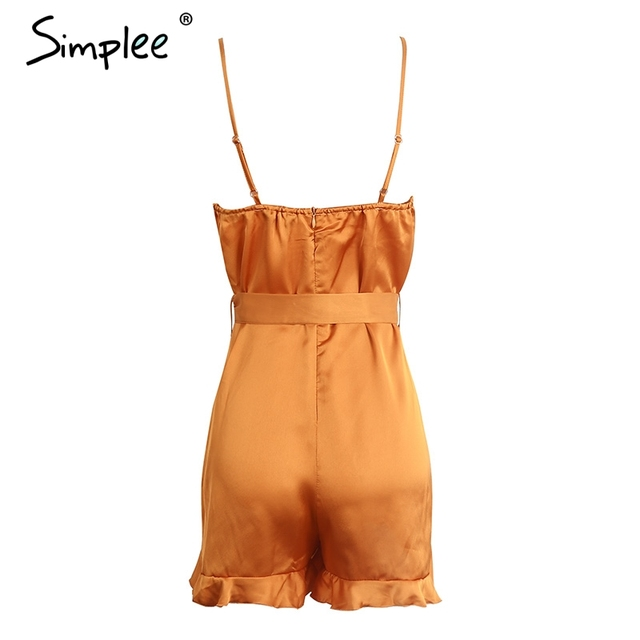 Simplee V neck ruffle bow high waist satin women jumpsuit romper Sexy sleeveless loose jumpsuit summer streetwear overalls