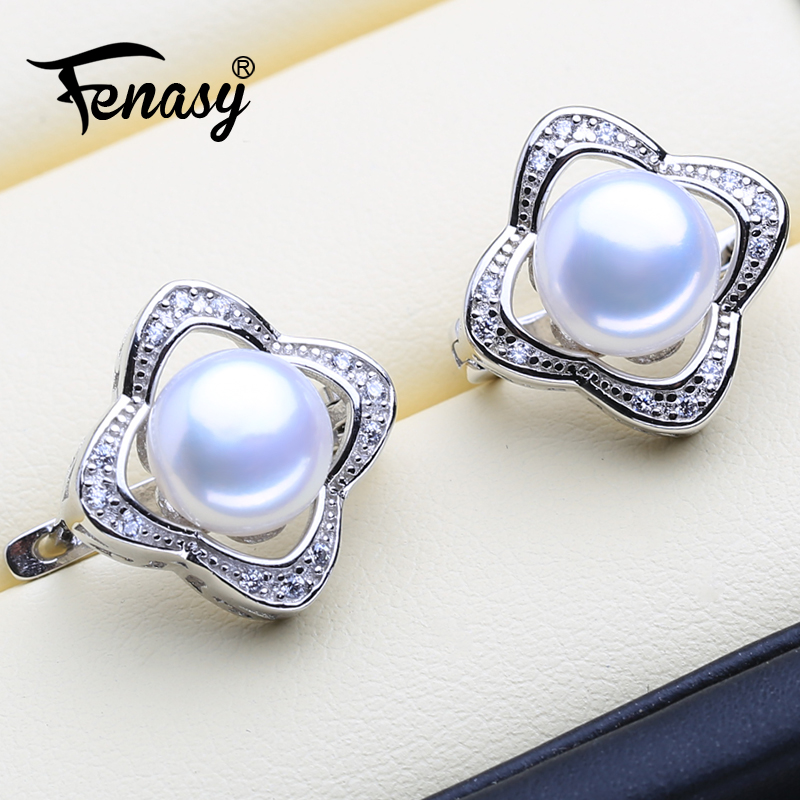 FENASY Pearl earrings,jewelry accessories natural Pearl stud earrings for Women fashion triangle earrings party earrings and boxFENASY Pearl earrings,jewelry accessories natural Pearl stud earrings for Women fashion triangle earrings party earrings and box