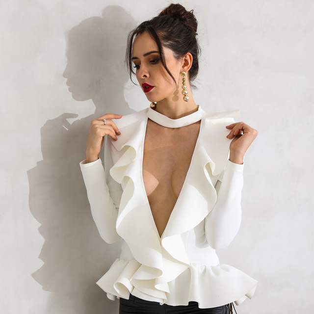 2019 womens sexy tops cleavage sexy deep V long sleeve folding fungus solid color white elegant top