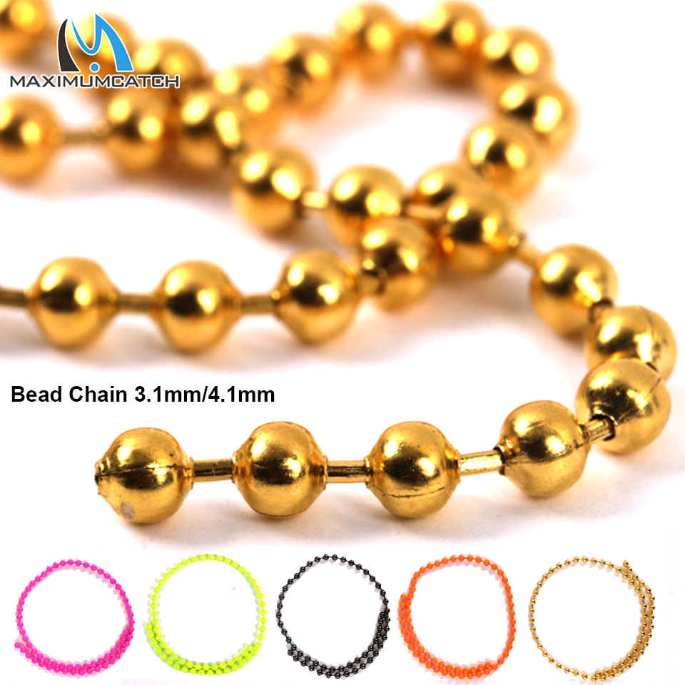 Maximumcatch 3 1mm/4 1mm Fly Tying Bead Chain Length 31cm Tying Bead Eyes  Metal Fly Fishing Material