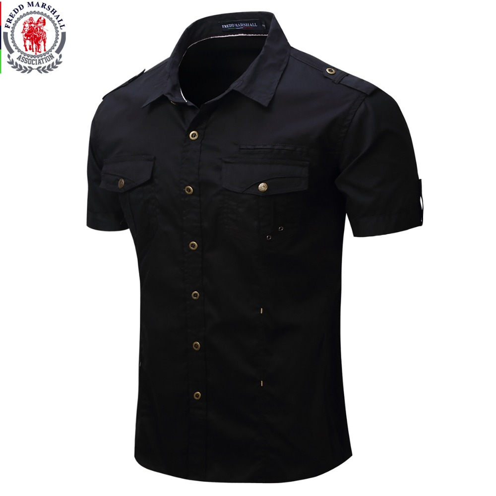 2017 New Arrive Mens Cargo Shirt  Men Casual Shirt Solid Short Sleeve Shirts Work Shirt with Wash Standard US Size 100% Cotton